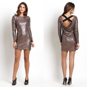 Rebecca Minkoff Black & Gold Sequinned Antik Dress
